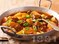 Яхния с телешко, картофи и моркови
